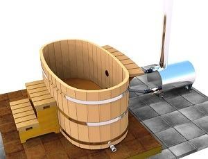 2 person wood fired ofuro tub oval